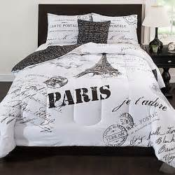 Eiffel Tower Bedding Sets Black And White Reversible Comforter Set In Black White Bed Bath