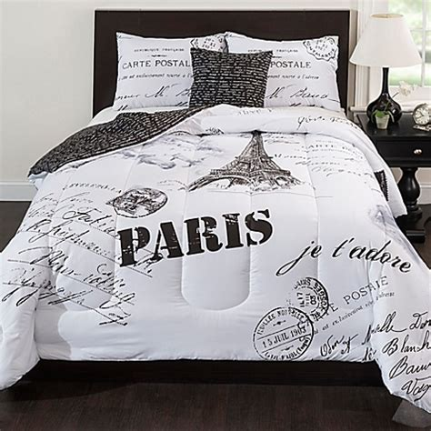paris reversible comforter set in black white bed bath