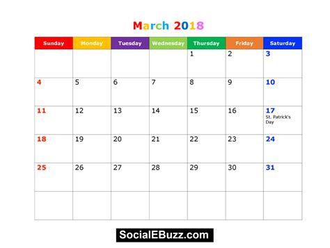 calendar template with holidays march 2018 calendar printable template with holidays pdf