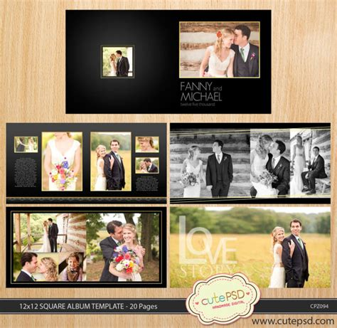 Golden Wedding Album Layout by 12x12 Square Wedding Album Template 20 Pages Gold
