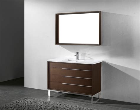 Modern Bathroom Vanities Doral 48 Inch Modern Walnut Bathroom Vanities Free