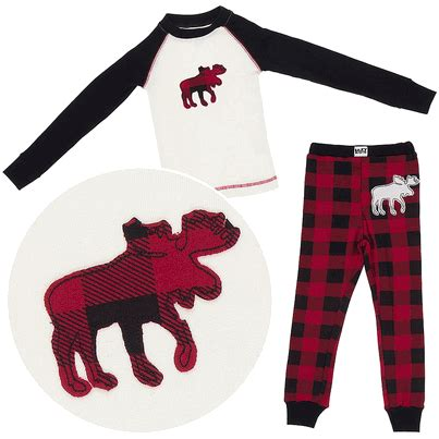 Lazy On by Lazy One Plaid Moose Cotton Pajamas For Toddlers And Boys