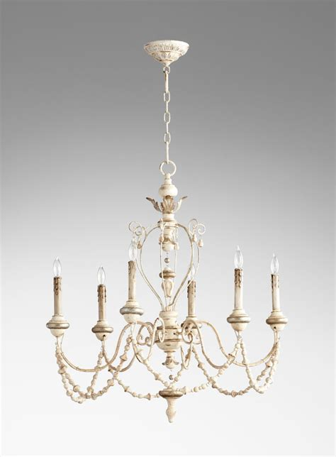 White Chandelier Florine Rustic White 6 Light Chandelier By Cyan Design