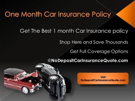 One month car insurance policy