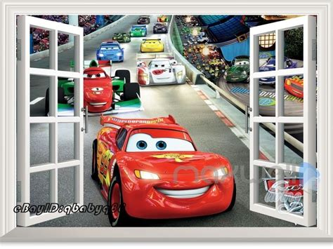 Large Nursery Wall Stickers disney cars mcqueen racing car 3d window wall sticker