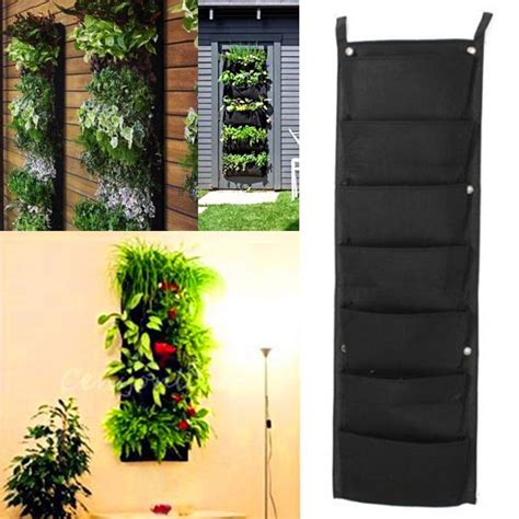 fence hanging planters 7 pocket hanging fence garden felt vertical flower vege herbs wall planter decor ebay