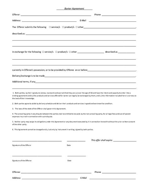 barter agreement template barter contract images frompo 1