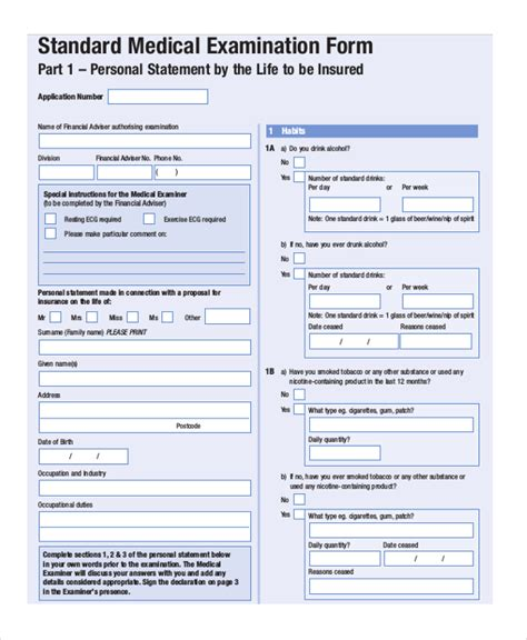 Sample Examination Form Examination sample medical examination form 9 free documents in pdf