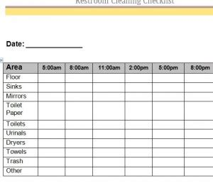 bathroom cleaning schedule template daily bathroom log form daily restroom inspection log