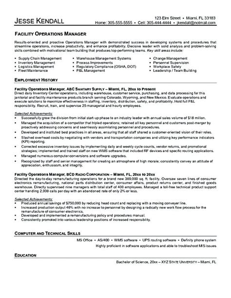 Facility Manager Resume Format facility manager resume