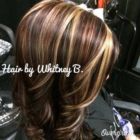 high light color hair brown reds blonde caramels and browns hair color highlights
