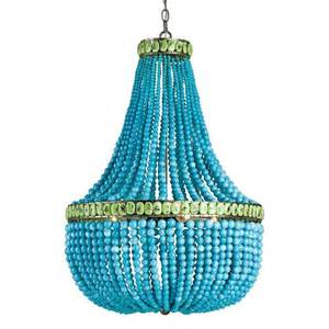Beaded Chandelier Lighting Turquoise Blue Beaded Coastal Beach 3 Light Chandelier