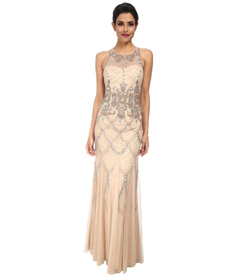 beaded halter dress papell halter fully beaded gown in beige