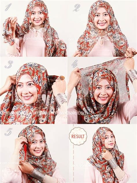 tutorial berhijab dgn pasmina tutorial jilbab cantik dengan pashmina siffon motif