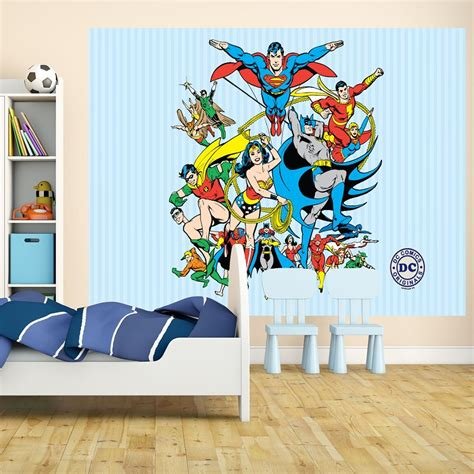 comic wall mural 1 wall wallpaper mural superman batman justice league 1 58m x 2 32m