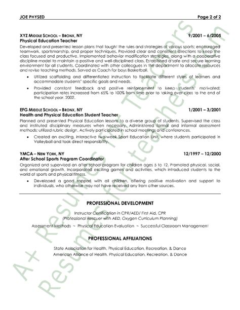 Resume Exles Physical Education Education Resume Sles