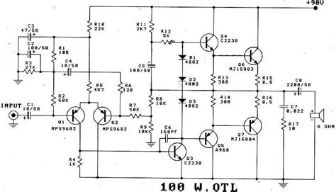 transistor power lifier transistor power lifier electronic circuit diagram and layout