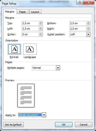 format layout makalah word2010 page setup