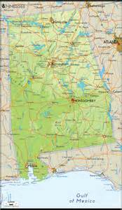 Alabama Map Usa by Physical Map Of Alabama Ezilon Map