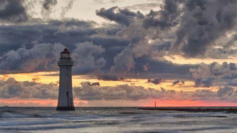 nature landscape sea lighthouse clouds horizon waves