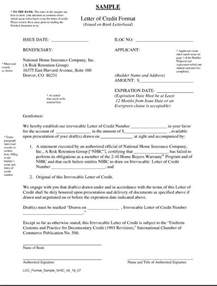 Bank Letter Of Credit Form Letter Of Credit Sles International Transactions
