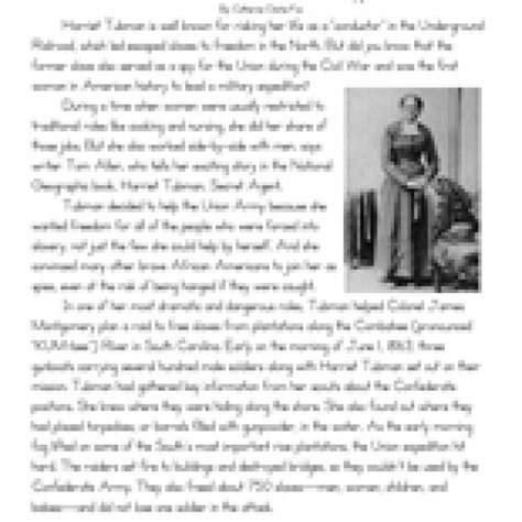 Civil War 8th Grade Reading Worksheets | eighth grade reading comprehension worksheet harriet