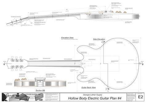 guitar building templates hollow electric guitar plan 4 electronic version