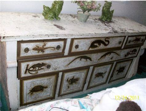 Decoupage Furniture For Sale - antique reptile decoupage buffet sideboard or dresser for