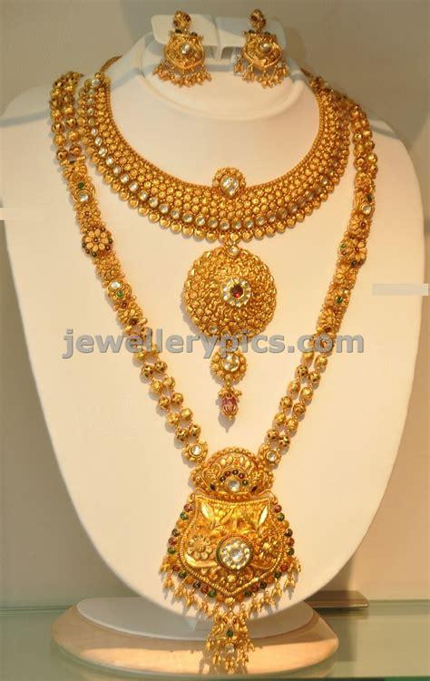 gold jewellery pattern khazana gold haram long necklace designs latest