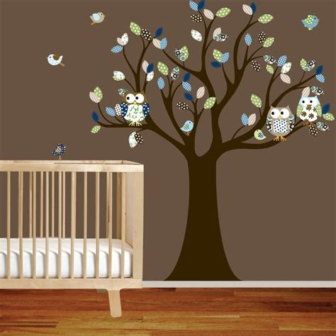 Nursery Tree Decal With Owls Birds Green Blue Pattern Wall Decal Tree Nursery