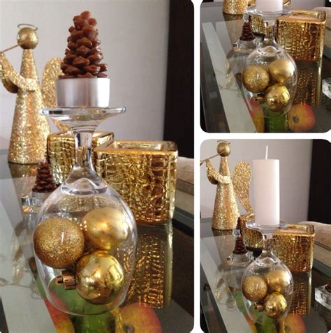 ornaments for home decor diy christmas decorations gold ornaments under wine glass