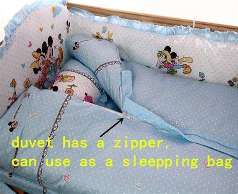 Only Bedcover Mickey promotion 10pcs mickey mouse sheet bumpers baby bedding