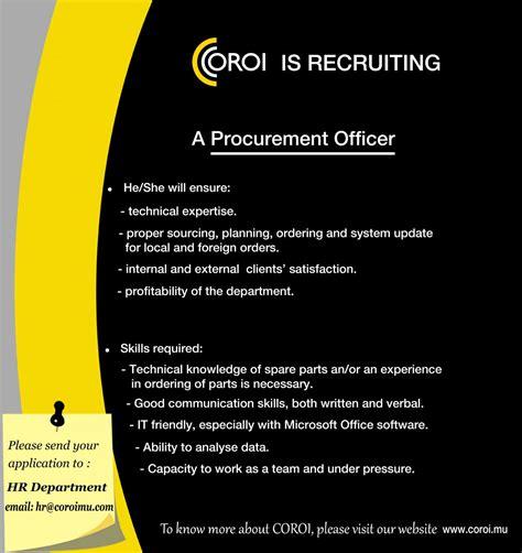 Procurement Officer by Poste Vacant En Tant Que Procurement Officer Coroi