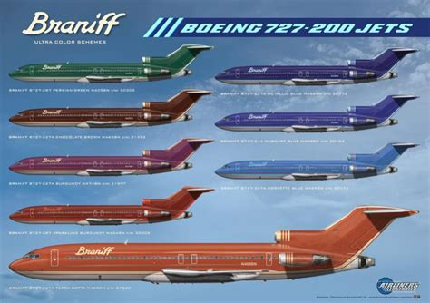 braniff boeing 727 200 colour schemes aviation us airlines boeing 727 200