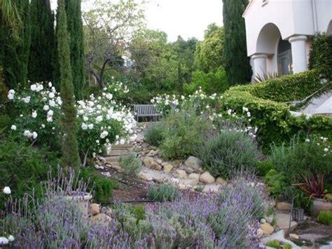 Lavender Garden Ideas Mediterranean Landscape Iceberg Roses Lavender Rosemary Succulents We Bought A House