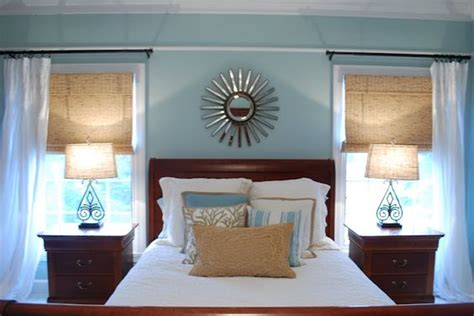 blue and brown master bedroom love how the color palette works with the darker cherry wood
