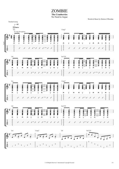 zombie drum tutorial zombie by the cranberries full score guitar pro tab