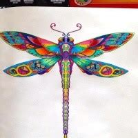 bonnie blue tattoo black contour dragonfly with purple and blue watercolor