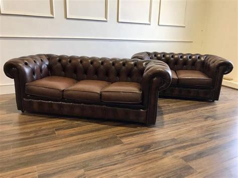 second hand brown leather sofa second hand chesterfield sofas chairs at robinson of england