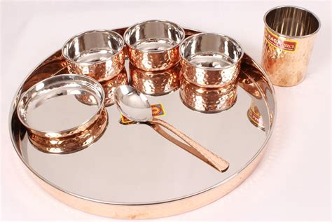 copper dining set india indian stainless steel copper traditional dinner set