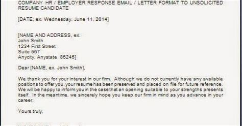 Response Letter To Unsolicited Resume Every Bit Of Reply Letter For Unsolicited Resume