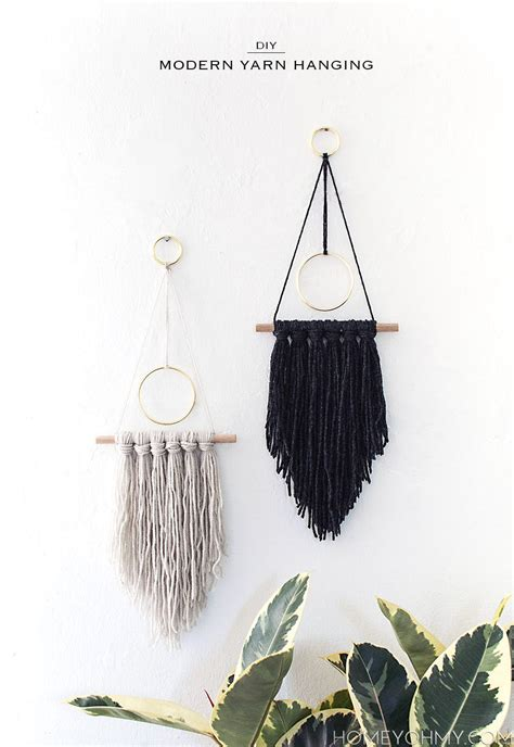 diy modern yarn hanging homey oh my - Modern Wall Hanging
