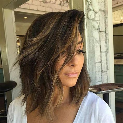 layered lob hairstyles 21 cute lob haircuts for this summer caramel balayage