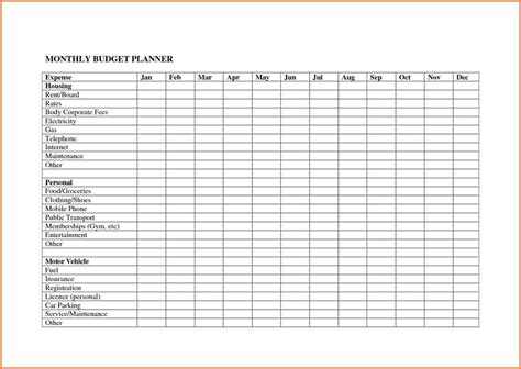 excel template for budget planning 10 monthly budget planner spreadsheet excel
