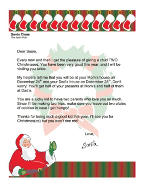 Parent Letter To Child About Santa Santa Letter Divorced Parents