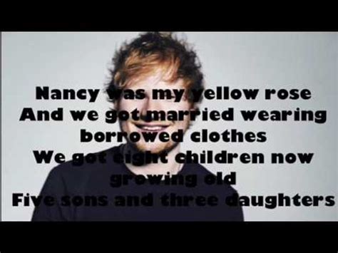 ed sheeran nancy mulligan lyrics nancy mulligan lyrics ed sheeran youtube