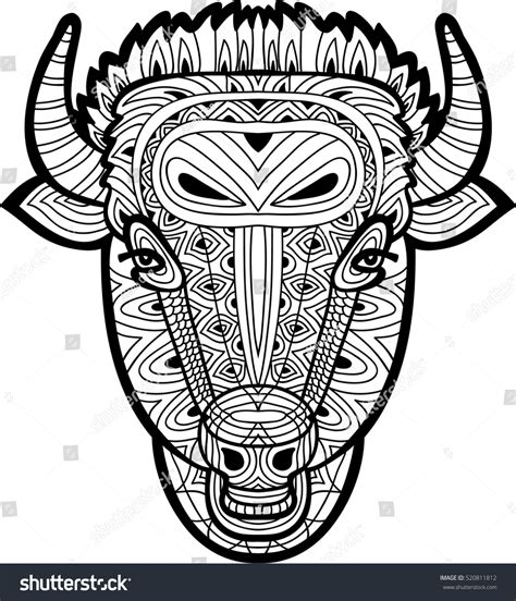 monochrome drawing bull tribal patterns on stock vector monochrome drawing bull tribal patterns on stock vector
