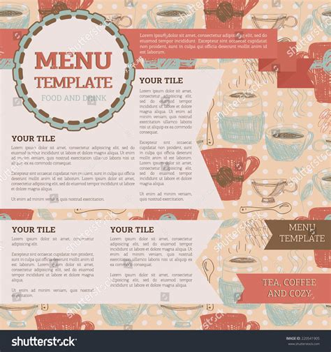tea menu template tea room menu template can be stock vector 220541905