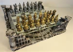 Chess Set Metal Pewter Roman Gladiator Medieval Times Chess Set