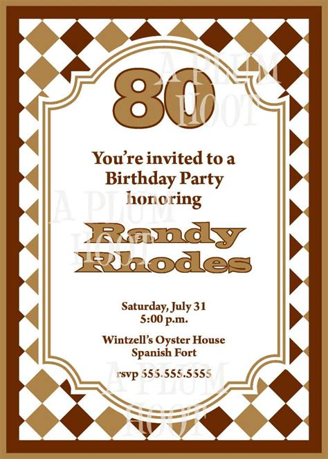 15 Sle 80th Birthday Invitations Templates Ideas Free Sle Birthday Party Invitations 80th Birthday Invitations Templates
